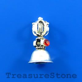 Bead/ Charm/Pendant, 12x22mm bell with crystals. Pack of 2.