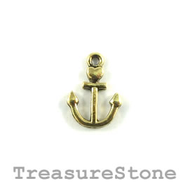 Charm, gold-plated, 12mm anchor. Pkg of 14.