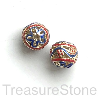 Bead, red, gold blue-finished, 11mm filigree round. each.