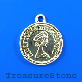 Pendant/charm, silver-finished, 26mm coin. Nickel free. Pkg of 2