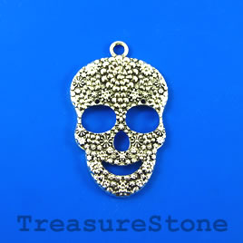 Pendant, silver-finished, 32x44mm skull. Sold individually.