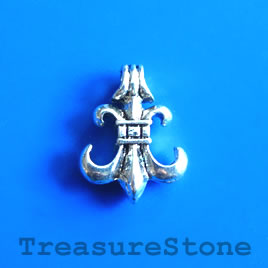 Charm/Pendant, silver-plated, 15mm fleur-de-lis. Pack of 5.
