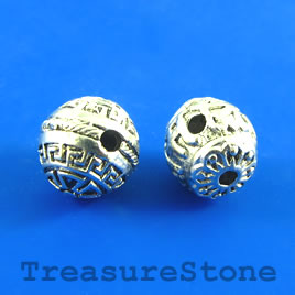 Bead, silver-plated, guru, 12mm round. Pkg of 2.