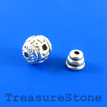 Bead, silver-finished, 11mm Guru bead set. Each set.