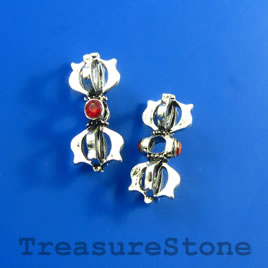 Bead/slider, silver-finished, 10x23mm with crystals. Pkg of 2