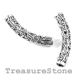 Bead, silver-finished, 38mm filigree curved tube. Pack of 4.
