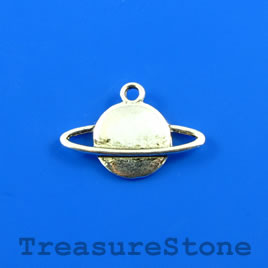 Charm/Pendant, 12x22mm planet, moon in orbit. Pack of 8.