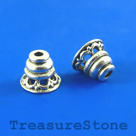 Cone, antiqued silver-finished, 9x10mm. Pkg of 8.