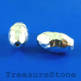 Bead, silver-plated, 10x17mm hammered oval. Pkg of 3.