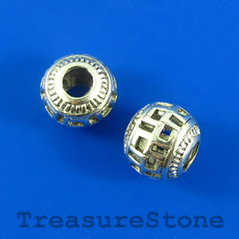 Bead,silver-plated,15mm rondelle, large hole: 5mm, Filigree.2pcs