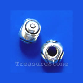 Bead, antiqued silver-finished, 6x4mm. Pkg of 20.