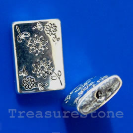 Bead, silver-finished, 15x12mm flat rectangle. Pkg of 15.