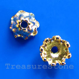 Bead cap, bright gold-finished, 7x5mm. Pkg of 22.