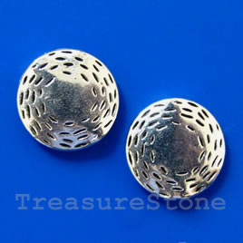 Bead, silver-finished, 16x4mm flat round. Pkg of 6.