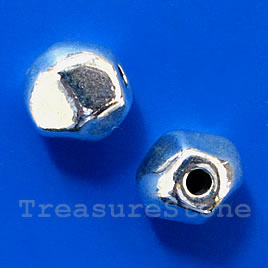 Bead, antiqued silver-finished, 10mm. Pkg of 7