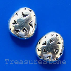 Bead, antiqued silver-finished, 9x10mm. Pkg of 10.