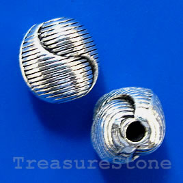 Bead, antiqued silver-finished, 8x10mm. Pkg of 10.