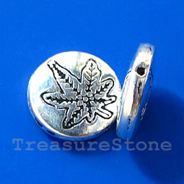 Bead, silver-finished, 12x3mm flat round. Pkg of 8.