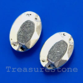 Bead, silver-finished, 8x12x3mm flat oval. Pkg of 12.