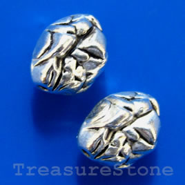 Bead, antiqued silver-finished, 8x12mm. Pkg of 5.