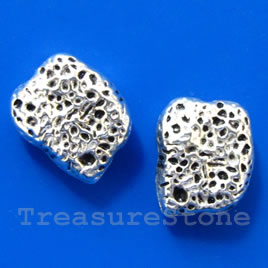 Bead, antiqued silver-finished, 9x11x5mm. Pkg of 6.