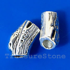 Bead, antiqued silver-finished, 7x11mm. Pkg of 10.