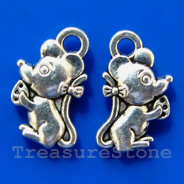 Pendant/charm, silver-finished, 12x7mm. Pkg of 15.