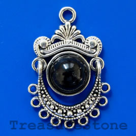 Pendant/charm, silver-finished, black, 21x32x8mm. Pkg of 2.