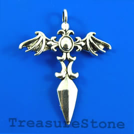 Pendant, 35x43mm cross. Pkg of 2.