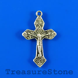 Charm/pendant, silver-plated, 17x25mm cross. Pkg of 4.