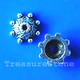 Bead cap, antiqued silver-finished, 10mm. Pkg of 18.