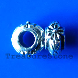 Bead, silver-finished, large hole, 17x3mm rondelle. Pkg of 20.