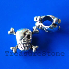 Bead, silver-finished, large hole, 15x13mm skull. Pkg of 5.