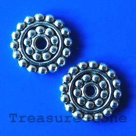 Bead, antiqued silver-finished, 14mm. Pkg of 12.