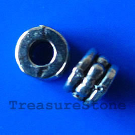 Bead, gunmetal-finished, 6x4mm tube. Pkg of 20.