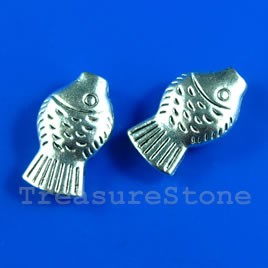 Bead, antiqued silver-finished, 10x15mm fish. Pkg of 10.
