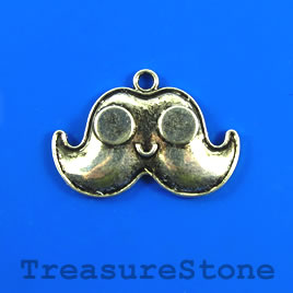 Pendant, silver colored, 19x32mm mustache. Pkg of 5.