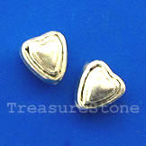 Bead, antiqued silver-finished, 5x6m heart. Pkg of 20.
