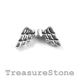 Bead, silver-plated, 9x20mm angel wings. Pkg of 12.