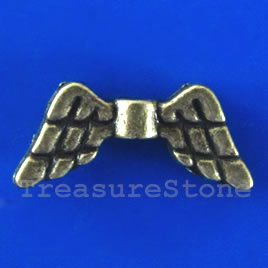Bead, brass finished angel wings, 20x9mm. Pkg of 12.