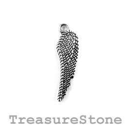Charm/Pendant, silver-plated, 24mm angel wing. Pack of 10.
