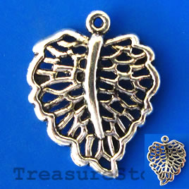 Charm/pendant, silver-plated, 18x22mm filigree leaf. Pkg of 8.