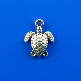 Charm, silver-finished, 13mm turtle. Pkg of 8.