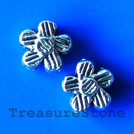 Bead, antiqued silver-finished, 6x3mm flower. Pkg of 25.