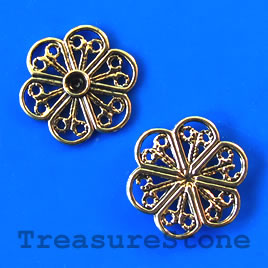 Bead, antiqued gold-finished, 16x1mm filigree. Pkg of 15.