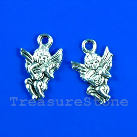 Pendant/charm, silver-finished,12x15mm angel. Pkg of 20.
