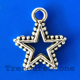 Charm/pendant, silver-plated, 14mm open star. Pkg of 16.
