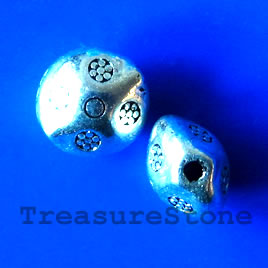 Bead, antiqued silver-finished, 7mm. Pkg of 20.