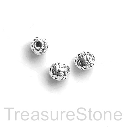 Bead, antiqued Silver Finished, 5x6mm oval. Pkg of 15