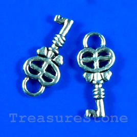 Pendant/charm, silver-finished, 8x15mm key. Pkg of 15.